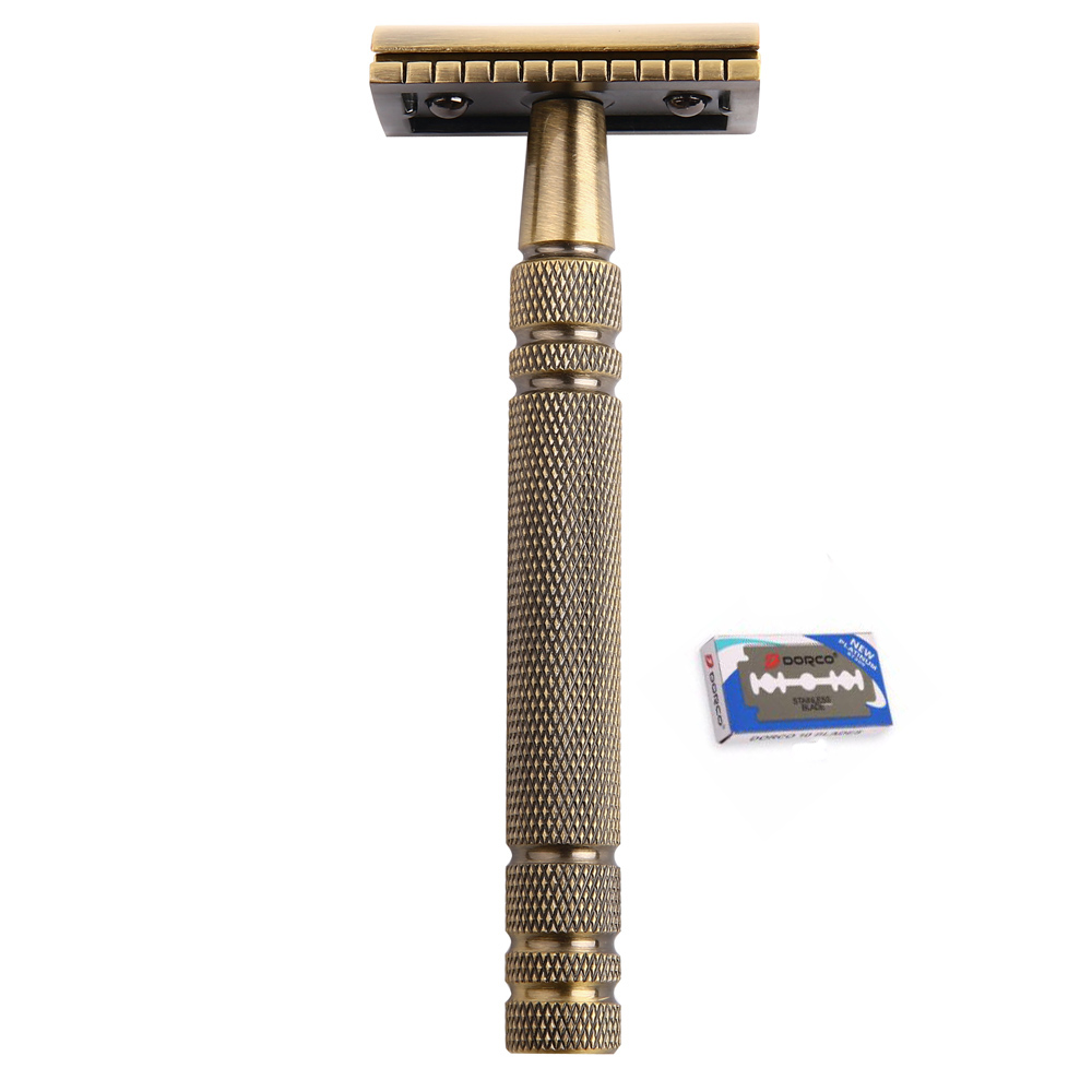 Razors for Shaving Men Double Edge Razor Brass Bronze Style Blade Replaceable Classic Safety Razor   1