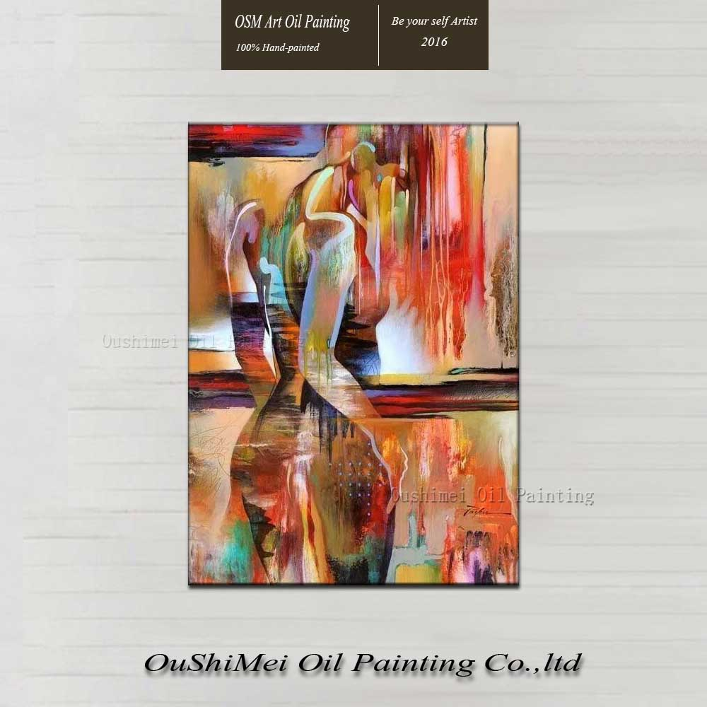 2015 New and Hot Sell Good Choice for Hotel Wall Art Decoration Hand Paint Full Nude African Girls Oil Painting on Canvas