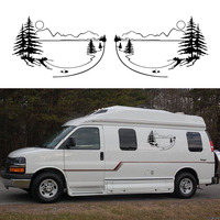 2x Sunset Scenery Tree Mountain Lake Sun One For Each Side Camper Van Graphics Motor Home