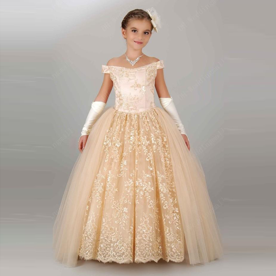 Champagne Elegant Dresses For Girls Teens Off Shoulder Appliques Lace  Princess Flower Girl Dresses Gowns Lace Up Birthday Dress ec42d7319f2d