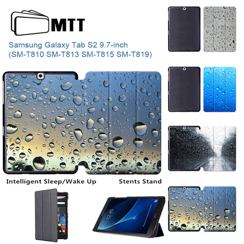 MTT Raindrops Case for Samsung Tab S2 9.7 Flip Smart Cover PU Leather Case for Samsung Galaxy Tab S2 9.7 SM-T810 T813 T815 T819 for tab s2 sm t810 kids safe shockproof heavy duty silicone hard case cover for samsung galaxy tab s2 9 7 t810 t815 hand hold