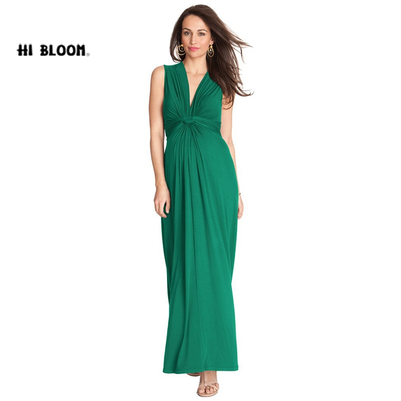 HI BlOOM Mother's Day Summer Maternity V-Neck Tencell Dress For Pregnent Official Women Evening Clothes Gowns Noble Vestido