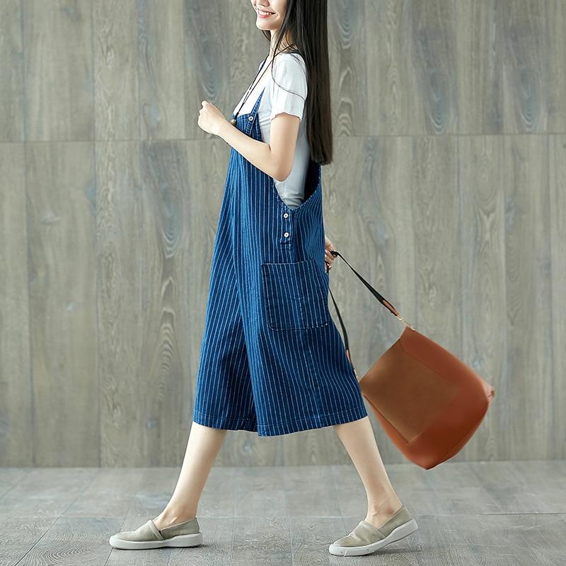 Для женщин Комбинезоны Плюс Размеры широкие брючины Джинсовый комбинезон комбинезоны мешковатые полосатые синие джинсы Штаны летом над Ра...