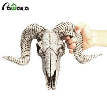 Cabeza de oveja de resina creativa cabeza de cráneo colgante de pared 3D Animal escultura de Longhorn figuritas artesanías cuernos decoración del hogar adornos