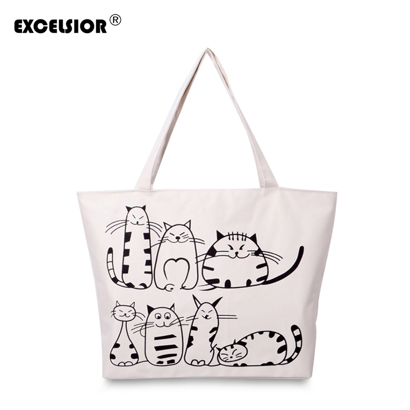 EXCELSIOR Cartoon Cats Printed Female Shopping Tote Bag Big Canvas Handtas Women's One Shoulder Crossbody Bag Portable sac G0636