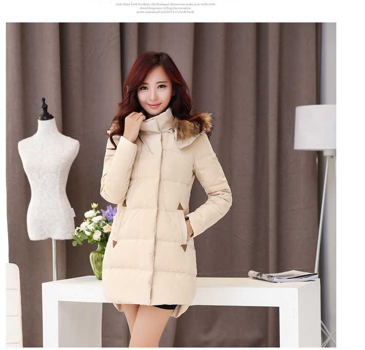 New Arrival Fashion Korean Winter Casual  Jackets Detachable Fur Hooded Thickening Long Rounding Hem Women  Coat H5274
