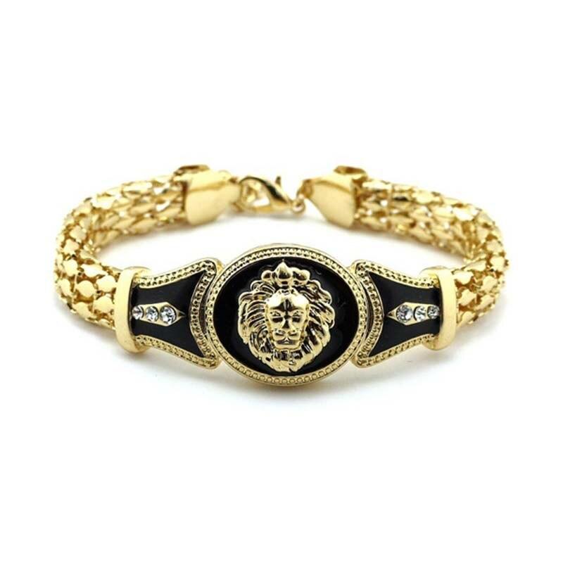 Bulgaria Jewelry Chunky Lion Head Bracelet Hip Hop Gold Link Chain Bracelets for Male Rock Bracelet Bangles Pulseras 19+5cm