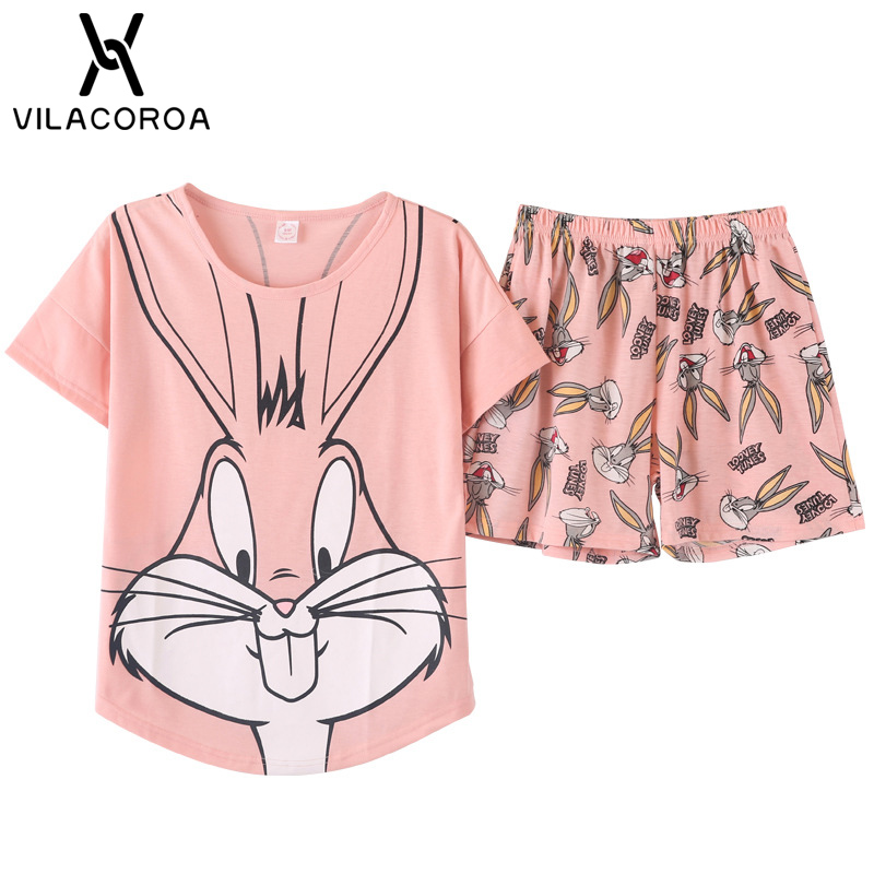 Cartoon Print Sleeve Tops & Shorts   Pajamas     Set   Women Round Neck Pink Sleeve Nightwear Women Summer Sleepwear 2pcs/  set