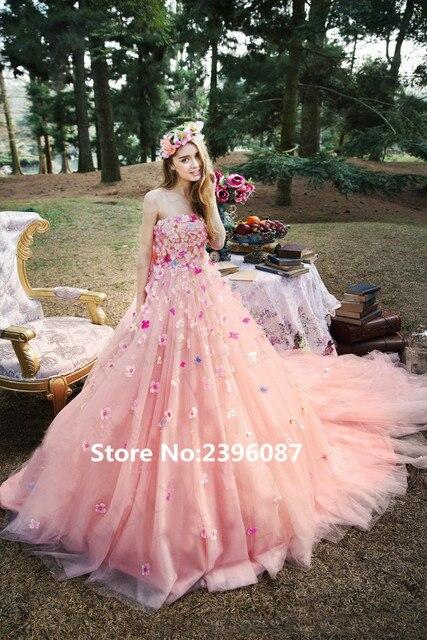 Hermosa Rosa Flores de Colores Bola vestidos de Novia 2017 Elegante ...