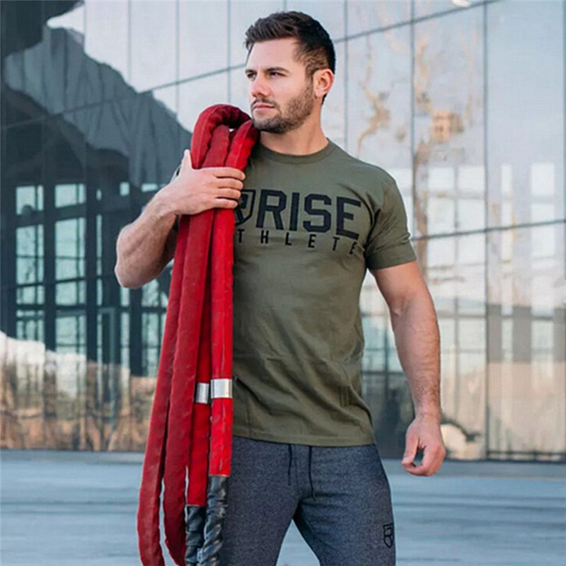 Men printed RISE T-shirt Fashion Casual Tops Muscle male clothes cotton Slim fit Tees personality clothing Short sleeves shirts