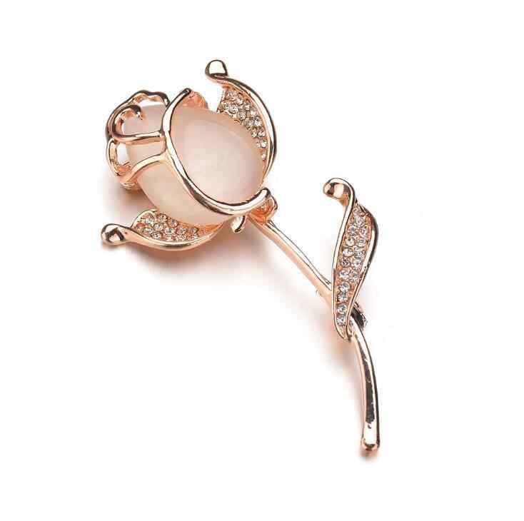 2018 New Hot Romantis Warna Emas Mawar Bunga Bros untuk Wanita Fashion Opal Rhinestone Bros Pin Lencana Bride Pernikahan Perhiasan