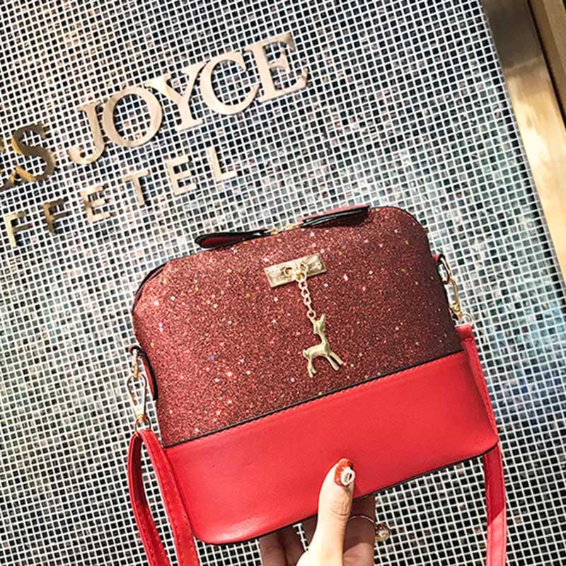 73ed65106d80 Модные женские туфли сумка женская из искусственной кожи сумки молния сумка  пайетки олень Декор Повседневное Crossbody