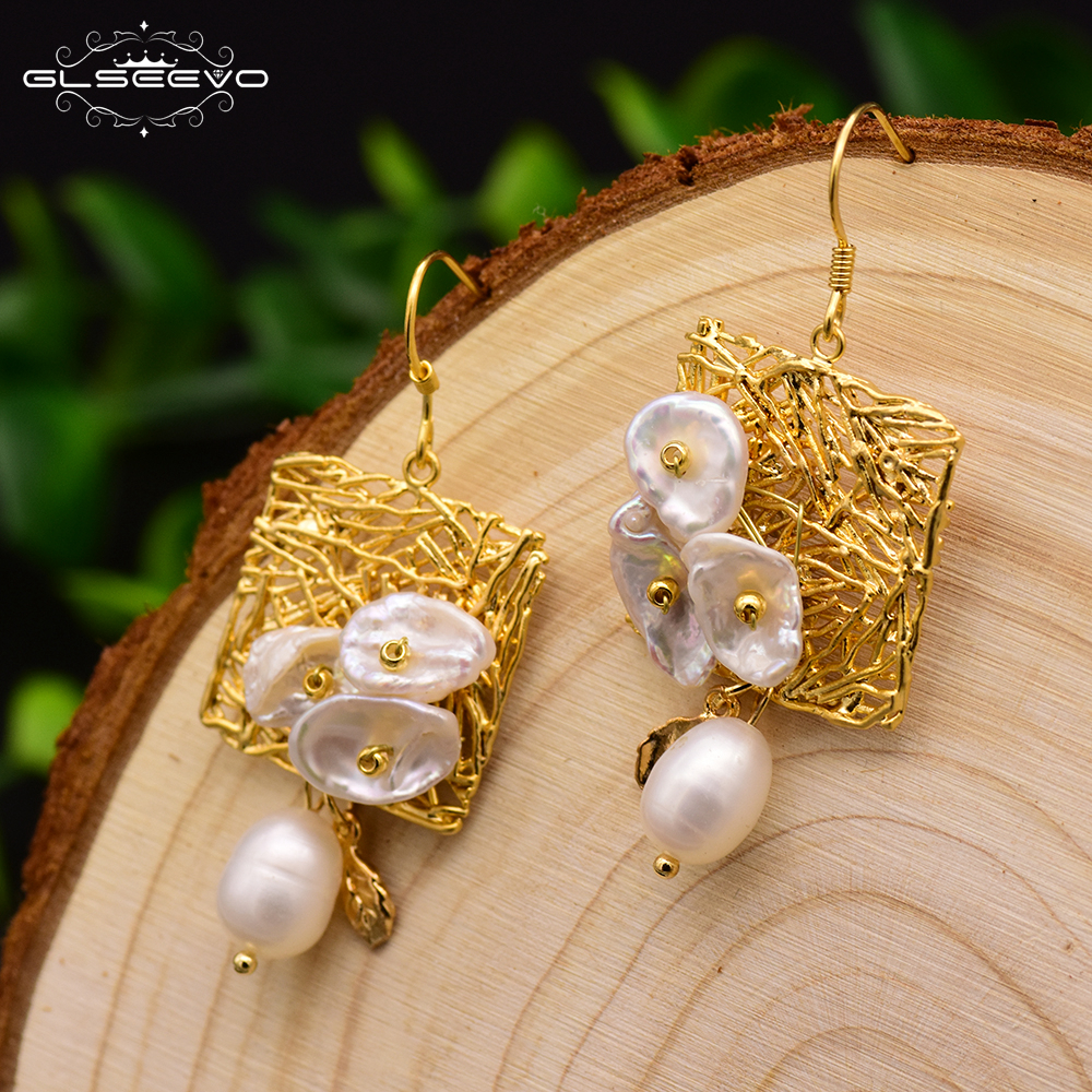 все цены на GLSEEVO Natural Fresh Water Baroque Pearl Women's Drop Earrings Geometric Dangle Earrings Jewelry Oorbellen Voor Vrouwen GE0316