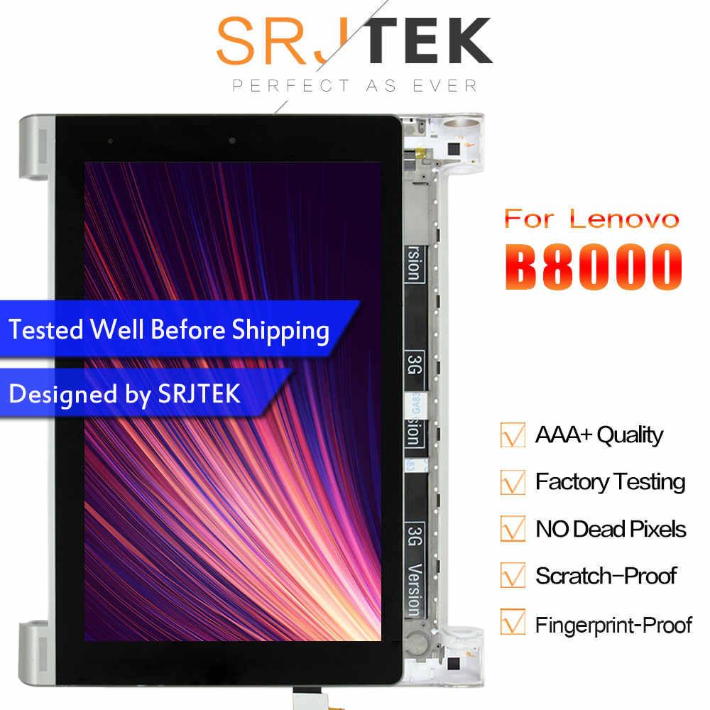 SRJTEK 10.1 Lenovo B8000 Yoga Tablet 10 60047 LCD ekran matris ekran dokunmatik Digitizer sensörü tam meclisi ile çerçeve