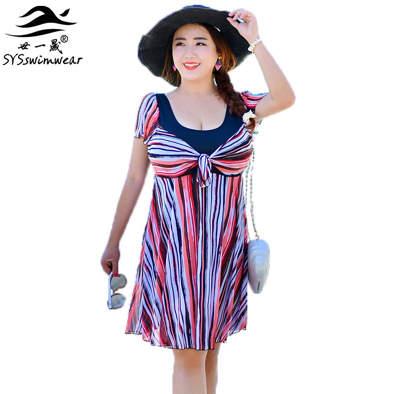 High Quality Plus Size Retro Strip Sexy Women One Piece Swimwear with Sleeves Cover the Shoulder Swimsuit Wire Free Bathing suit the one plus one