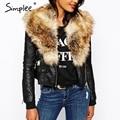 Simplee Fox piel y piel del faux fur coats for women Otoño moda caliente de piel sintética mullida femenina delgada chaqueta de bombardero con de piel