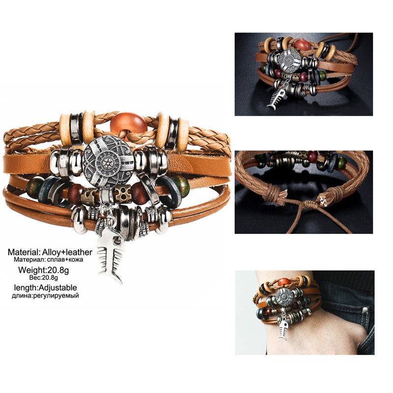 IF-ME-Vintage-Pendent-Fish-Leather-Bracelet-For-Men-Multiple-Layer-Beads-Braided-Bracelets-Fashion-Wristband (2)