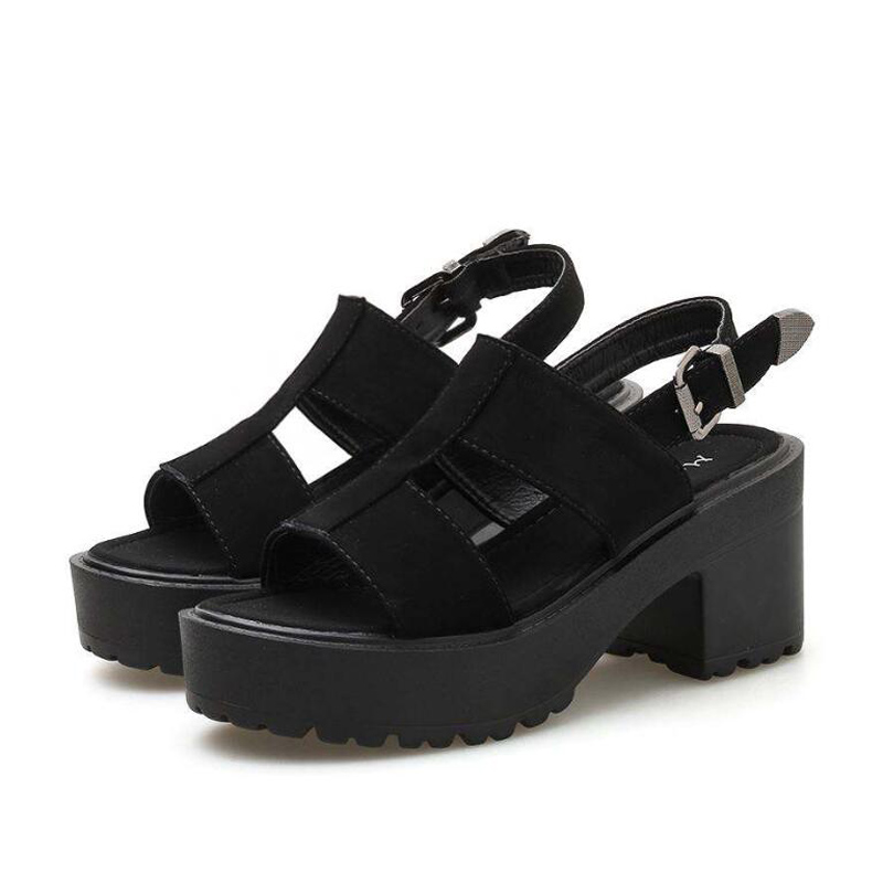 Ankle Strap Summer Shoes Women Sexy chunky sandals Platform Shoes Block Heels Female Black Sandals punk summer shoes YMA838 in High Heels from Shoes