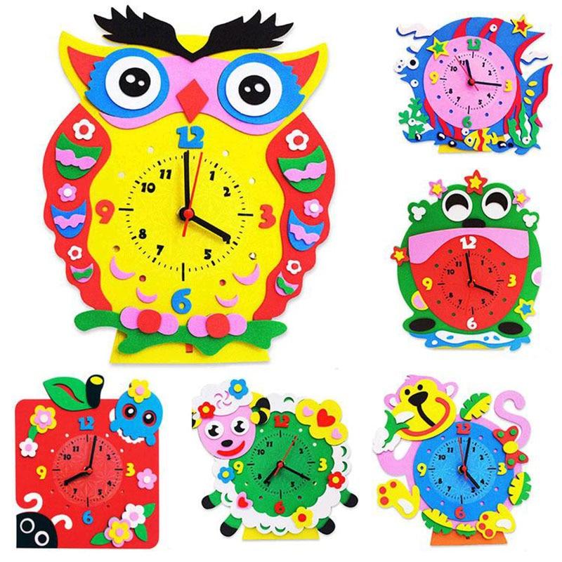 4pcs children cartoon animal clocks/ Kids DIY handmade clock for kindergarden school art craft educational toy, free shipping