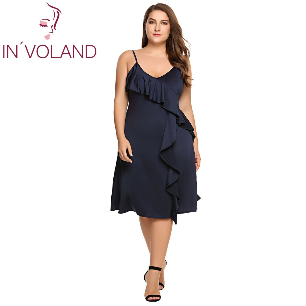IN'VOLAND Women A-line Dress Plus Size Spaghetti Strap Summer Sexy Deep V-Neck Strappy Solid Ruffled Ladies Dresses Oversized