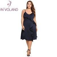 IN VOLAND Women A Line Dress Plus Size Spaghetti Strap Summer Sexy Deep V Neck