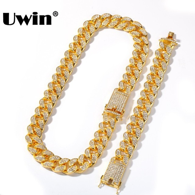Uwin 20mm Heavy Miami Cuban Link Chain Necklace & Bracelet Set Full Iced Out Rhinestones Bling Bling Hiphop Jewelry For Men
