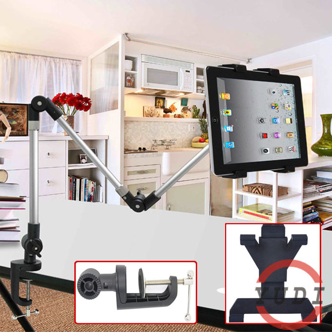 ФОТО 2015 Flexible Adjustable Tablet Mount Stand Holder 4-12 inch for tablet pc and cellphone holder aluminum tablet desktop stand YD