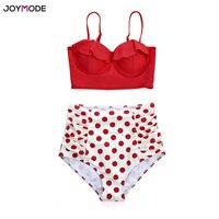 JOYMODE Vintage Two Pieces Women Bikini Set Swimwear Ruffles High Waist Swimsuit Push Up Retro Red