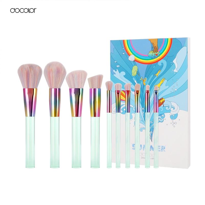 Docolor New 10PCS Makeup brushes Set Light Green Transparent Handles with Colorful Bristle Make up Brushes Super Soft Hair зубъя для кошек grivel grivel g14