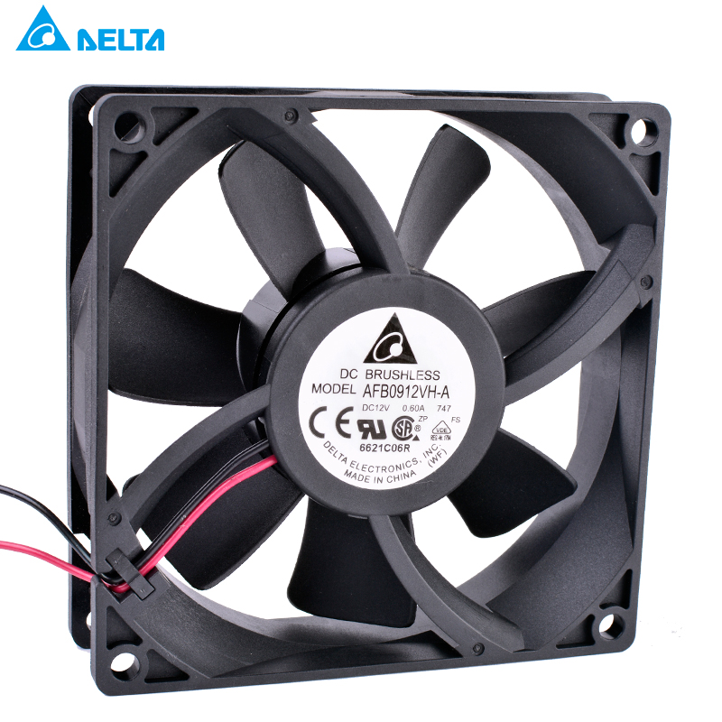 AFB0912VH-A DELTA 90mm fan 9025 92x92x25mm 12V 0.60A double ball bearing large air volume cooling fan original sunon pmd1207ptv1 a 7025 magnetic levitation maintenance bearing large air volume 7cm fan 70x70x25mm