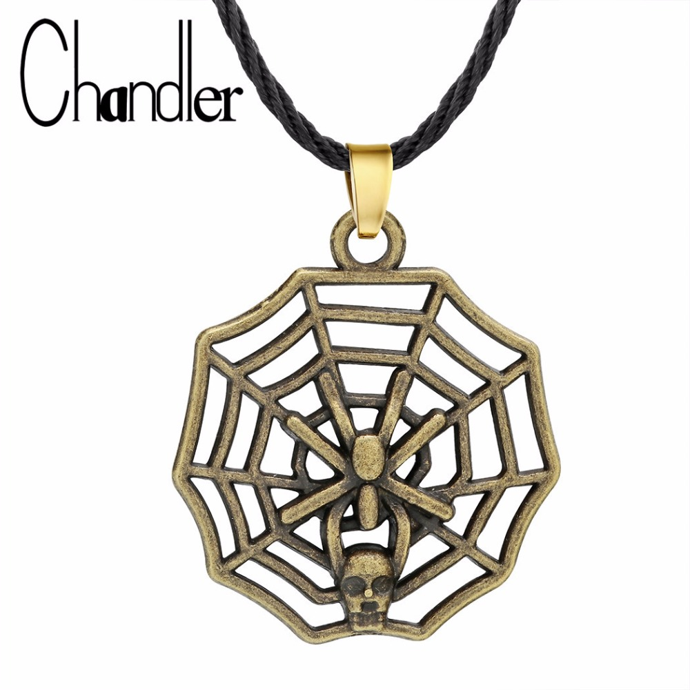 Chandler Spider Web Spider-Man Homecoming Themed Necklace Spiderman and Spider Web Shaped Charm Necklaces Retro Handmade Jewelry