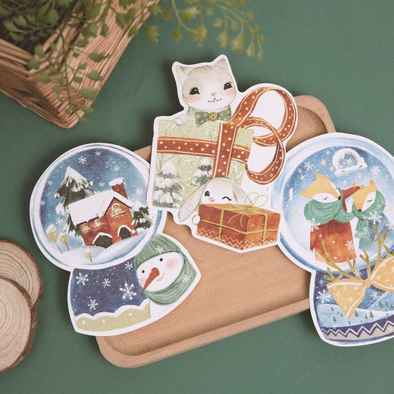 30 Pcs/lot Cute Animal Christmas Gift Cards Kawaii Greeting Card Postcards Santa Claus Christmas Trees Note Cards
