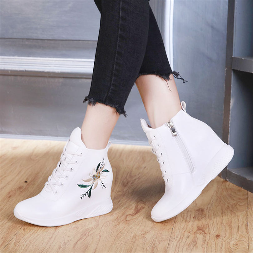 NAYIDUYUN Women Cow Leather Fashion Sneakers Casual Shoes Wedge Leather High Heel Round Toe Breathable Oxfords in Women 39 s Vulcanize Shoes from Shoes