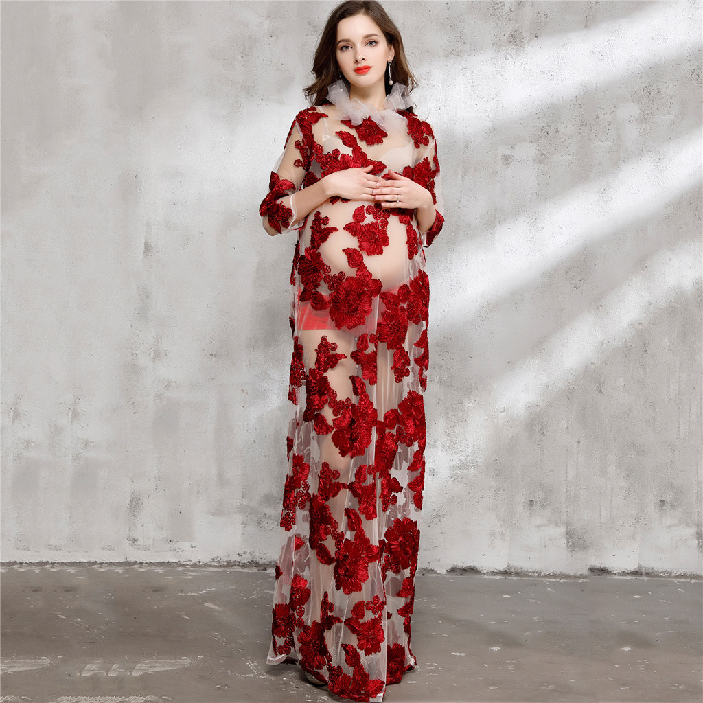 Sexy Floral Sheer Mesh Maxi Dress Maternity Photography Photo Shoot Gown ...