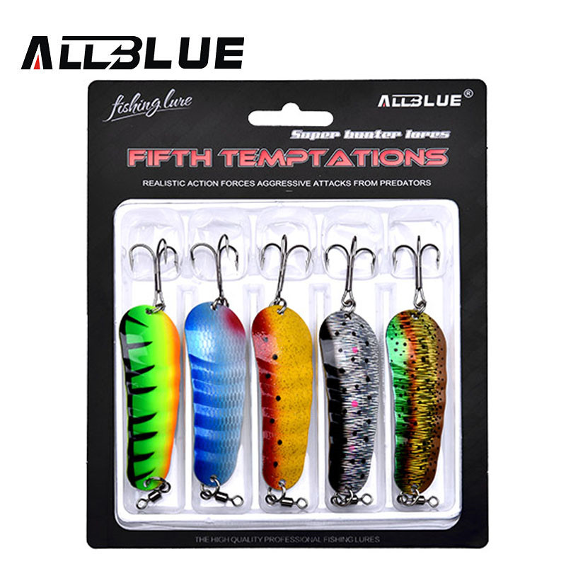 ALLBLUE Bait Spoon-Lure Fishing-Tackle Hard Metal Multi-Colors Artificial 5pcs/Lot title=