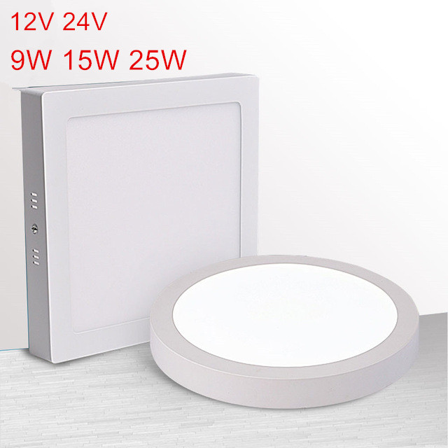 AC/DC12V/24V 9W/15W/25W Led Ceiling Light Surface Mounted Led Ceiling Light+ LED Driver LED Indoor Light Free Shipping