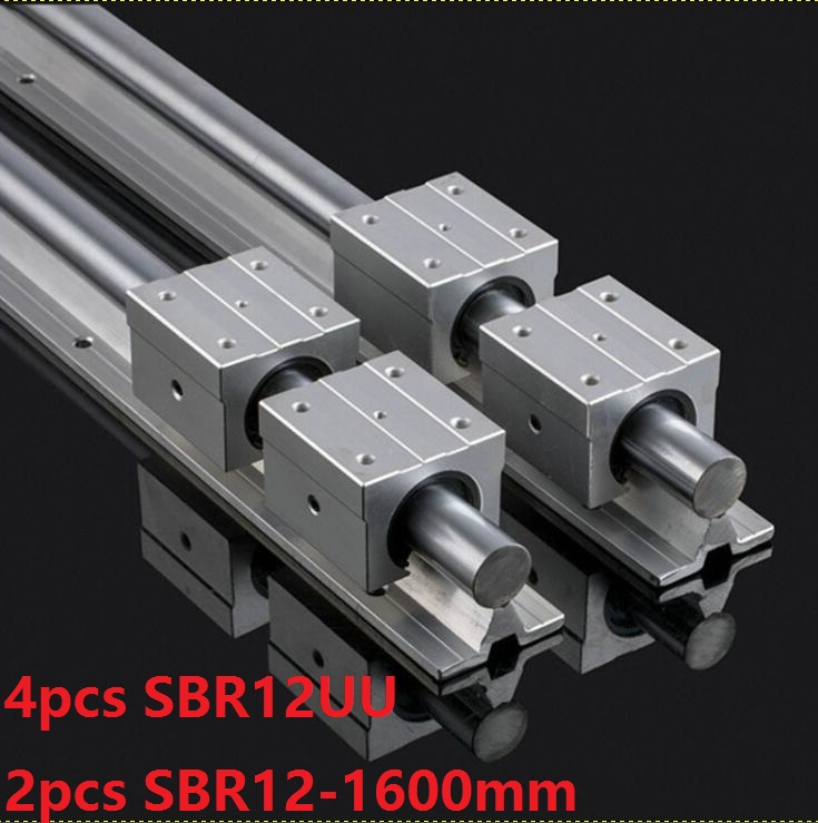 2pcs SBR12 -L 1600mm support rail linear guide rail + 4pcs SBR12UU linear bearing blocks CNC router parts 2pcs sbr12 l 1000mm support rail linear rail guide 4pcs sbr12uu linear bearing blocks cnc router parts