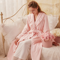 418d74faaa Free Shipping 2018 New Winter Women s Long Robe Flannel Sleepwear Vintage  Princess Pink and Yellow Loose