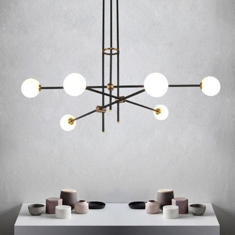 Modern minimalist molecular glass ball chandelier G9 lamp Nordic restaurant home adjustable angle chandelier lighting lamp|Pendant Lights|   - title=