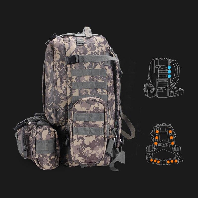 Hommes imperméable voyage alpinisme tactique Camouflage sac à dos Molle escalade randonnée route sac à dos souple combinaison ensemble - 2