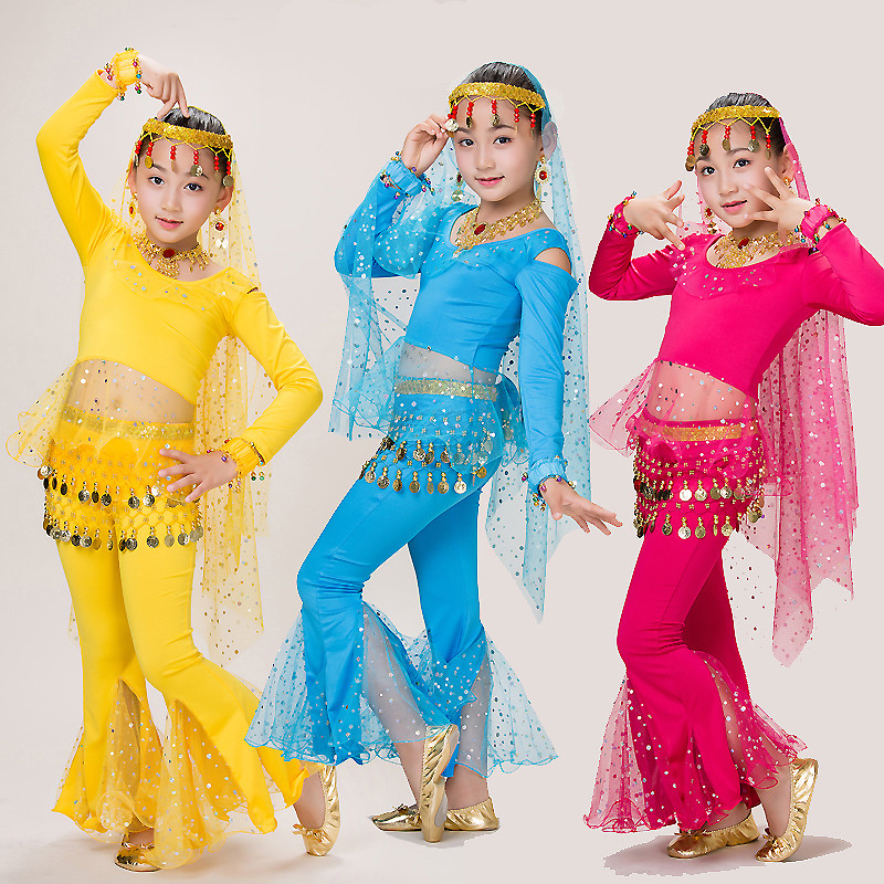 Bellydance Costume Set <font><b>Tops</b></font> Pants <font><b>Bollywood</b></font> Belly Dance Suit Children Tribal Belly Dancer Clothing Performance Wear DNV11401 image