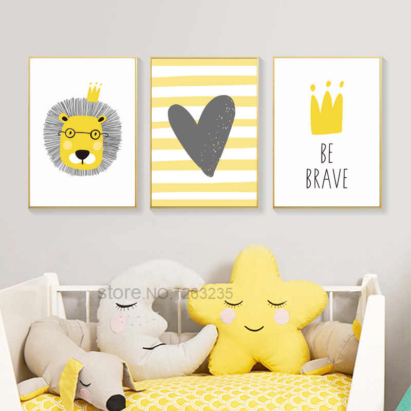 Poster Lion Boy Baby Room Decor Wall