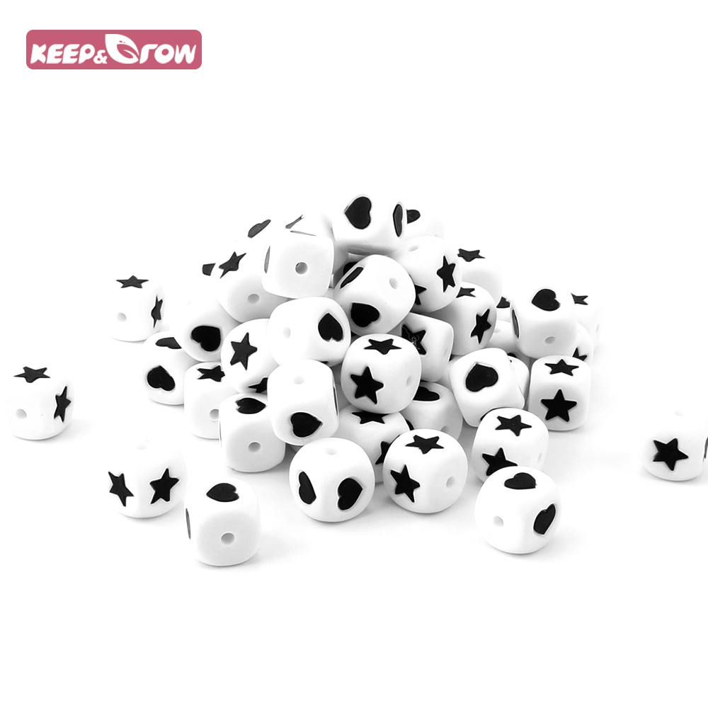 Keep&Grow 10Pcs Star/Heart Silicone Letter Beads BPA Free Chewable Baby Teething Baeds Baby Teethers For Pacifier Chain Making
