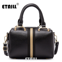 ETAILL Vintage Boston Bag Famous Brand Women Pu Leather Stripe Shoulder Bag High Quality Designer Luxury
