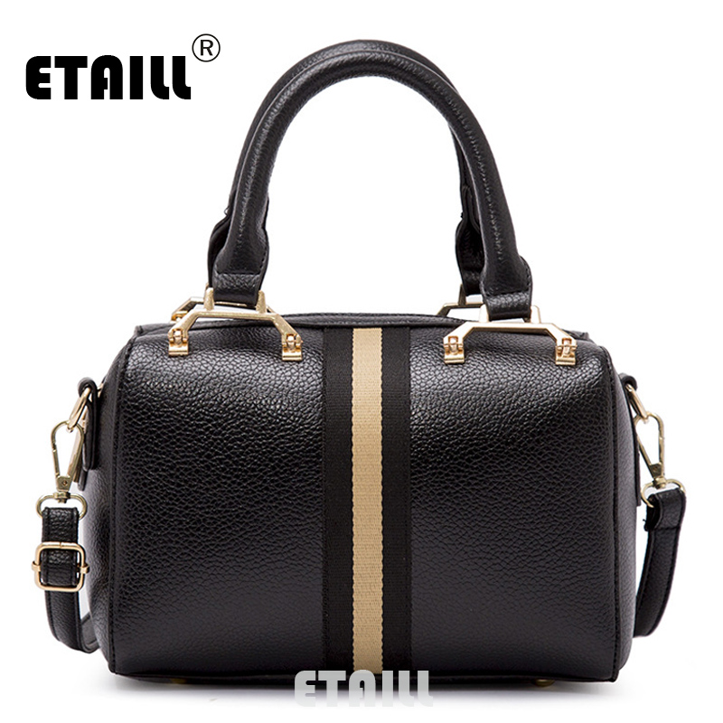 ETAILL Vintage Boston Bag Famous Brand Women Pu font b Leather b font Stripe Shoulder Bag