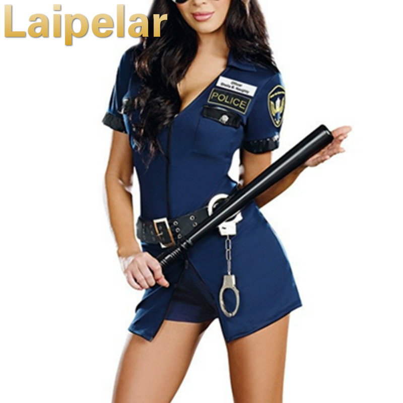 Halloween Policewoman Costumes Adult ladies Short Sleeve Blue Female Officer <font><b>Cop</b></font> Costume Uniform Party <font><b>Sexy</b></font> Police Costume Club image
