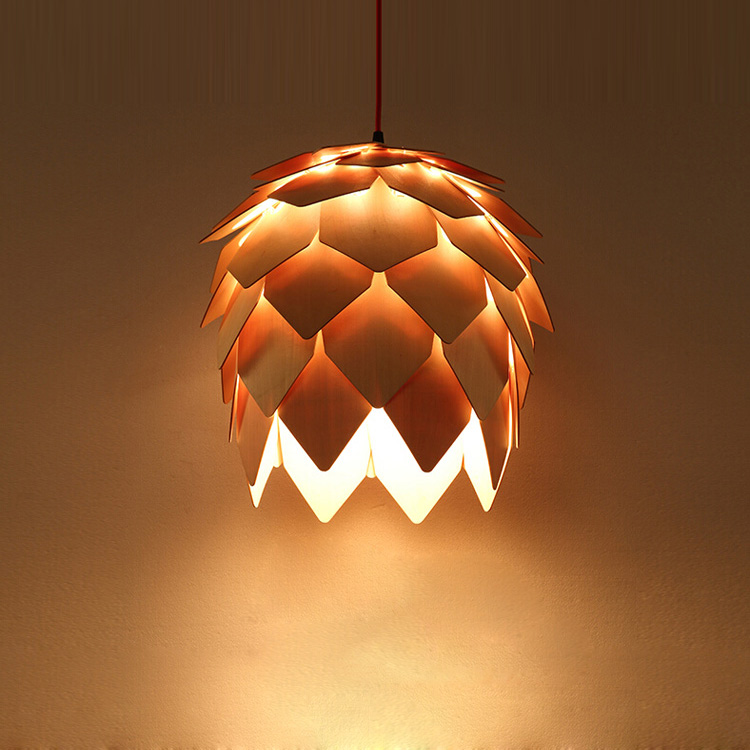 Modern Pendant Light DIY Pinecone Wood Pendant Lights Hanging Lamps Decoration Light Fixture AC 90-260V modern mirror sliver glass pendant lights lustres spherical globle ball pendant lamps hanging light fixture luminaria