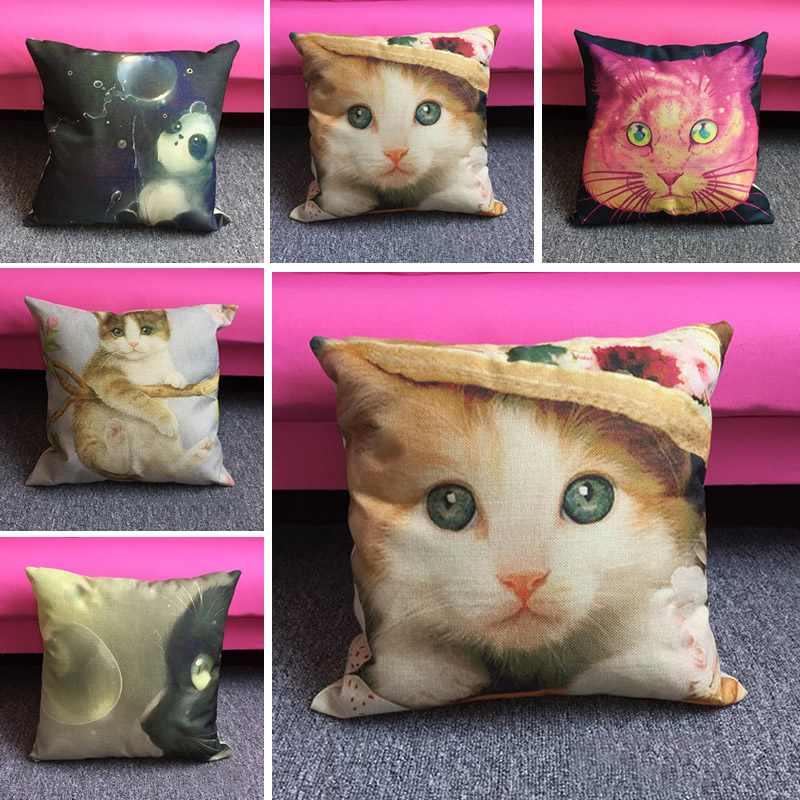 DIY Personality Cute Cat Pillowcase Flax Cushion Cover Square Pillowcase Sofa Throw Cover Home Textile 45x45cm F