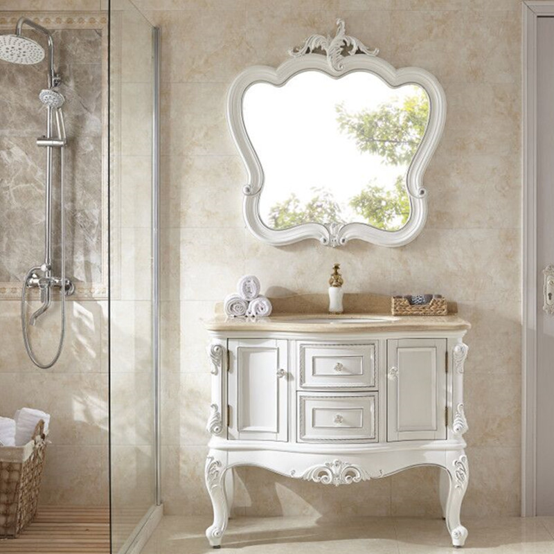 0327TB017 European style floor mounted combination solid wood bathroom cabinet wash basin cabinet ...