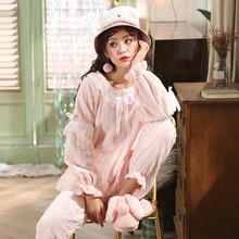 Pajamas Sleepwear Winter pajamas New Girl Simple Small Fresh Water VelvetHome Service Suit Fashion Warm Sleepwear Comfot